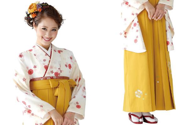 着物724A2ベージュ/八重桜&女袴379_260カラシ/花輪ししゅう_A2(身長160cm前後対応商品)