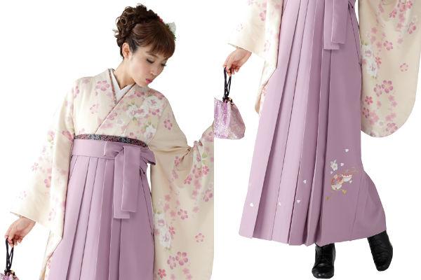 着物823A2クリーム/たて桜&女袴378_260藤色/手まりししゅう_A2(身長160cm前後対応商品)