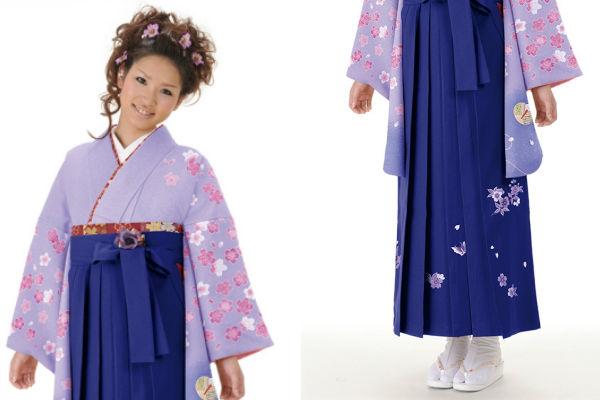 着物709A2藤色/桜人形&女袴375_260紫/桜蝶ししゅう_A2(身長160cm前後対応商品)