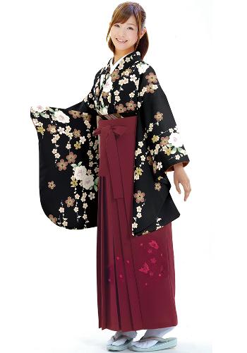 着物788A2黒/たて桜&女袴376_260エンジ/桜蝶ししゅう_A2