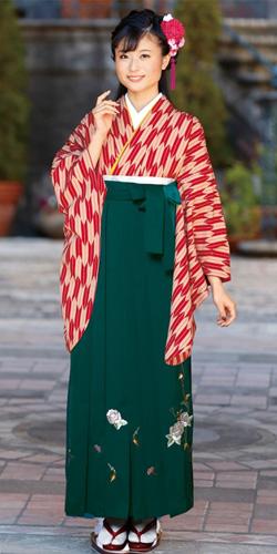 【卒業時装】着物654A1赤・ベージュ/矢がすり&女袴372_245グリーン/つるバラししゅう_A1(身長155cm前後・草履丈対応商品)