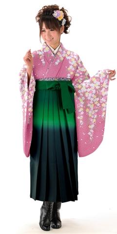 【卒業時装】着物814A2ピンク/重ね桜&女袴352_245グリーン/二色ボカシ_A2(身長160cm前後・9-13号・ブーツ丈対応商品)