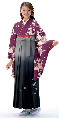 【卒業時装】着物721A1紫/レトロ桜菊&女袴396_245グレー/ボカシししゅう_A1(身長155cm前後・9-11号・草履丈対応商品)