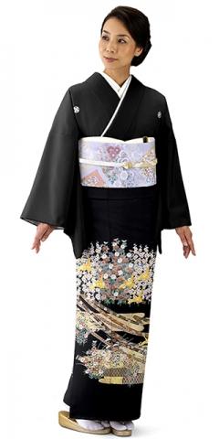 単衣・黒留袖レンタルTRB012H A0(身長150cm前後・ヒップ80-95cm位の方用)